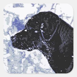 Adesivo Quadrado Labrador preto - país das maravilhas do inverno