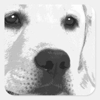 Adesivo Quadrado Labrador retriever preto e branco