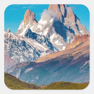 Adesivo Quadrado Lago e montanhas de Andes, Patagonia - Argentina