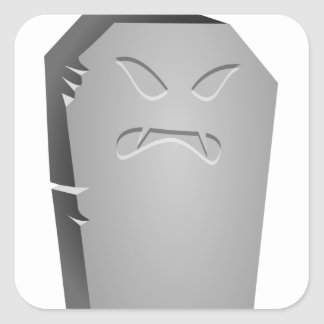 Adesivo Quadrado Lápide irritada do Dia das Bruxas