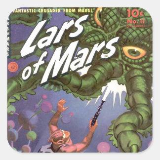 Adesivo Quadrado Lars de Marte e do monstro Inseto-eyed do
