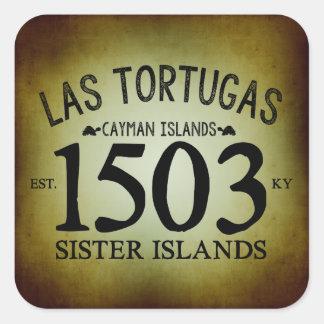 Adesivo Quadrado Las Tortugas EST. 1503 rústico