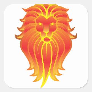 Adesivo Quadrado Leão customizável do zodíaco de Leo do fogo