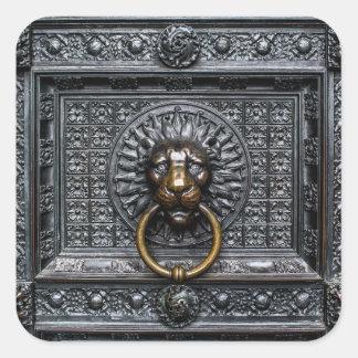 Adesivo Quadrado Leão de Doorknocker - preto/ouro