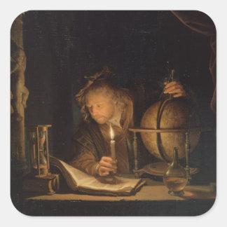 Adesivo Quadrado Leitura do filósofo do alquimista