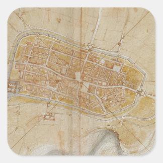 Adesivo Quadrado Leonardo da Vinci - plano da pintura de Imola