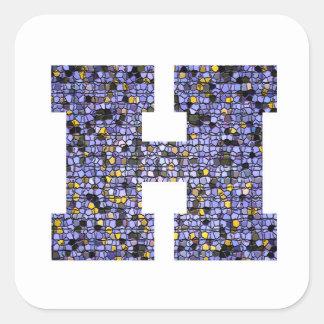 Adesivo Quadrado Letra Glittery H do monograma do vitral do mosaico