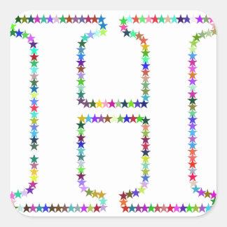 Adesivo Quadrado Letra H da estrela do arco-íris