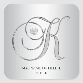Adesivo Quadrado Letra inicial Monogrammed de prata elegante feita