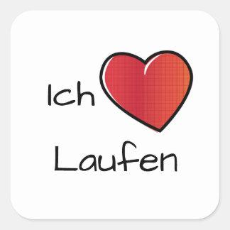 Adesivo Quadrado Liebe Laufen de Ich - corredor do amor de I