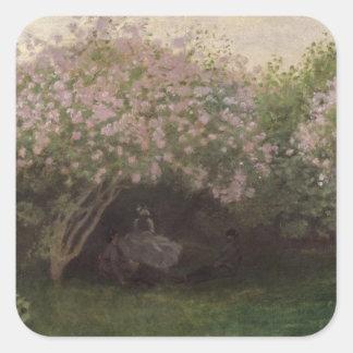 Adesivo Quadrado Lilacs de Claude Monet  , tempo cinzento, 1872