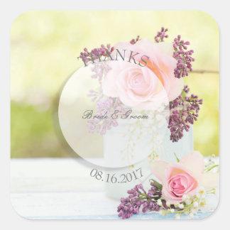 Adesivo Quadrado Lilacs e casamento vintage dos rosas