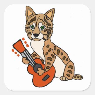 Adesivo Quadrado Lince engraçado que joga a arte da guitarra