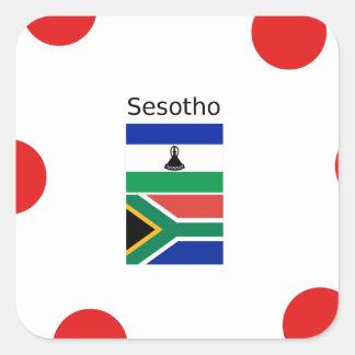 Adesivo Quadrado Língua de Sesotho e bandeiras de Lesotho/África do