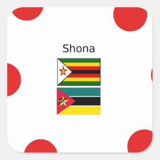 Adesivo Quadrado Língua de Shona e bandeiras de Zimbabwe e de