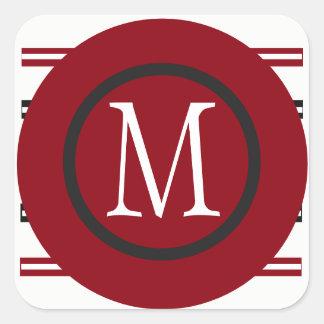 Adesivo Quadrado Linha preta branca vermelha elegante design com