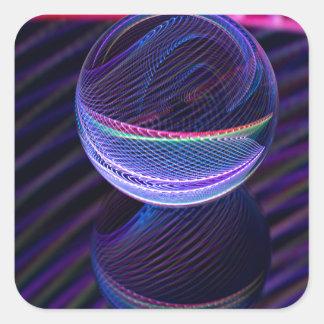 Adesivo Quadrado Linhas Checkered na bola de vidro