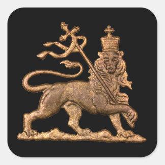 Adesivo Quadrado Lion of Judah - Haile Selassie Jah Rasta bordador