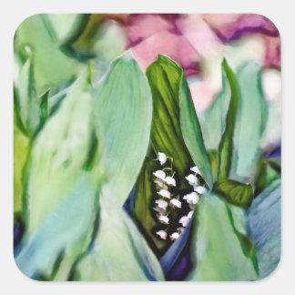 Adesivo Quadrado Lírio das flores do vale escondidas nas folhas