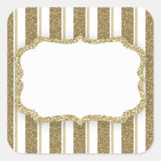 Adesivo Quadrado Listra do brilho do ouro - PERSONALIZE