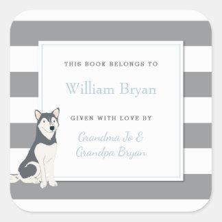 Adesivo Quadrado Listras cinzentas do Bookplate do bebê com cão