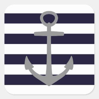 Adesivo Quadrado Listras náuticas com âncora cinzenta