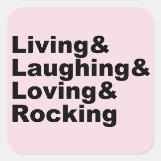 Adesivo Quadrado Living&Laughing&Loving&ROCKING (preto)