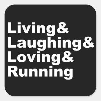 Adesivo Quadrado Living&Laughing&Loving&RUNNING (branco)
