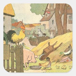 Adesivo Quadrado Livro da história dos animais de fazenda ilustrado