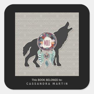 Adesivo Quadrado Livro do espírito animal do nativo americano do