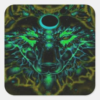 Adesivo Quadrado Lobo amarelo de néon Mythical