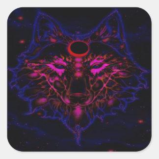 Adesivo Quadrado Lobo azul de néon Mythical