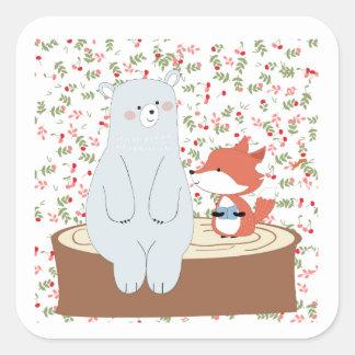 Adesivo Quadrado Lobo bonito da raposa do verão do primavera do