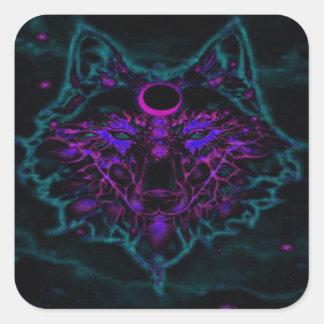 Adesivo Quadrado Lobo de néon Mythical da cerceta