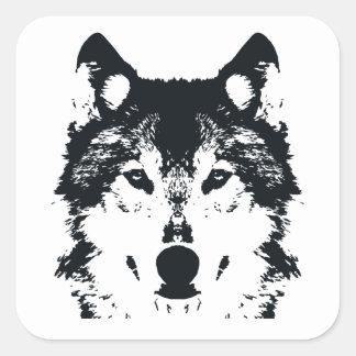 Adesivo Quadrado Lobo preto da ilustração