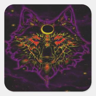 Adesivo Quadrado Lobo roxo de néon Mythical