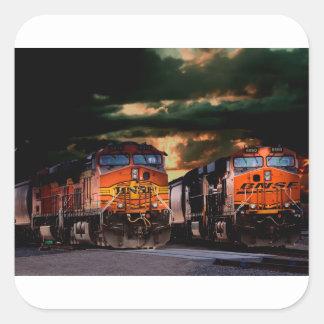 Adesivo Quadrado Locomotivas poderosas prontas para transportar