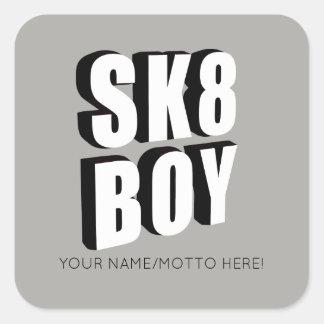 Adesivo Quadrado Logotipo do skate