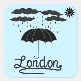 Adesivo Quadrado Londres | sob um guarda-chuva