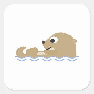 Adesivo Quadrado Lontra de flutuação bonito