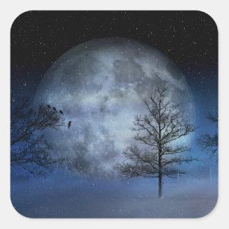 Adesivo Quadrado Lua cheia entre as copas de árvore