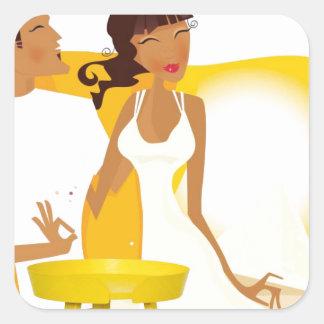 Adesivo Quadrado Lua de mel do verão