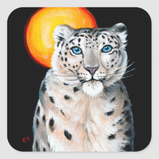 Adesivo Quadrado Lua do leopardo de neve