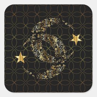 Adesivo Quadrado Lua floral e estrela de Wiccan