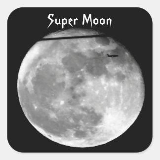 Adesivo Quadrado Lua super com a passagem do avião/customizável!