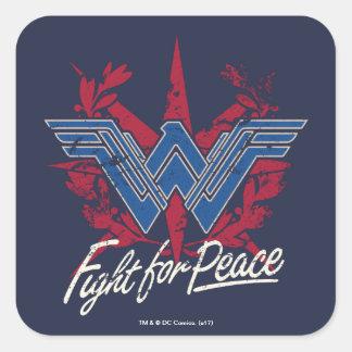 Adesivo Quadrado Luta da mulher maravilha para o símbolo de paz
