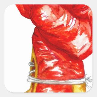 Adesivo Quadrado Luva de encaixotamento vermelha