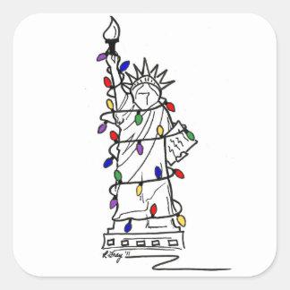 Adesivo Quadrado Luzes de Natal da estátua da liberdade da Nova