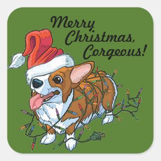 Adesivo Quadrado Luzes do Xmas do Natal do filhote de cachorro do