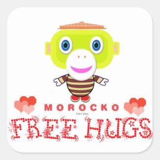 Adesivo Quadrado Macaco-Morocko Abraço-Bonito livre